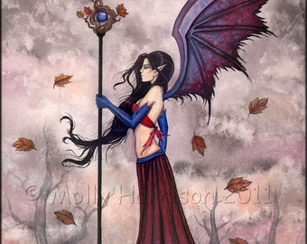 Gothic Vampire Fairy Fine Art Print 'Heart of Autumn' Watercolor Giclee 8 x 10 inches by Molly Harrison