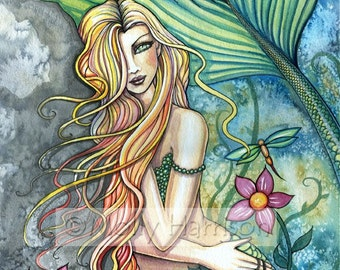 Fresh Water Mermaid Fantasy Fine Art Giclee Print by Molly Harrison 12 x 16