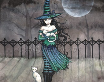 Witch Cat Autumn Fine Art Print by Molly Harrison  'Just Before Midnight' Giclee 5 x 7