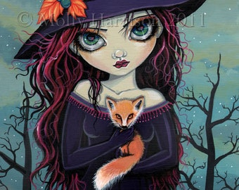 The Smirking Fox - Witch and Red Fox Fine Art Giclee Print by Molly Harrison 9 x 12