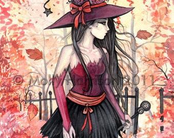 Woods of Autumn - Witch Original Fine Art Print 9 x 12