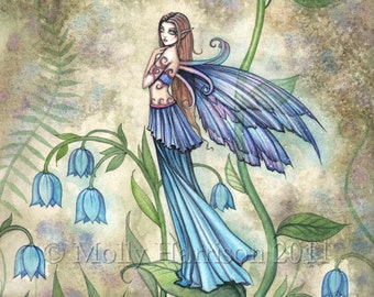 Fairy Fine Art Fantasy Print by Molly Harrison 12 x 16  'Blue Bell'