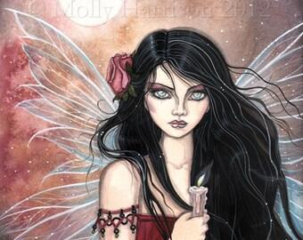 Earthen Dusk - Fairy Fantasy Fine Art Giclee Print 9 x 12 - Gothic Fairy - Faery, Fairies, Candle, Warm Tones