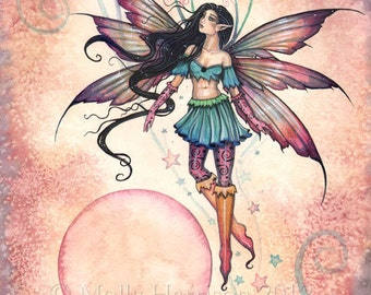 Fairy Faery Art Print by Molly Harrison 'Star Stepper' Beautiful Fantasy Watercolor Art Print 9 x 12