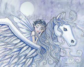 Carry Me Away -  Pegasus and Fairy Fine Art Giclee Print 5 x 7