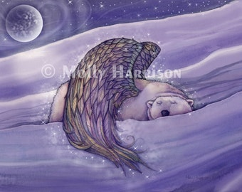 Magical Winged Bear - Polar Bear Fine Art Giclee Print by Molly Harrison 12 x 16