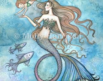 Mermaid Print - Sanctity of Motherhood by Molly Harrison Fantasy Art 5 x 7