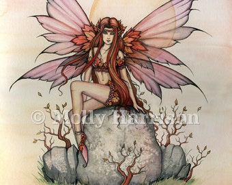 Fairy Print - Autumn Spirit - Molly Harrison Fantasy Art - 9 x 12 - Fairies, Faery, Illustration - Fine Art Watercolor Giclee Print