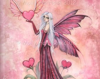 Fairy Print - The Flying Valentine - 9 x 12 Fine Art Giclee Archival Print