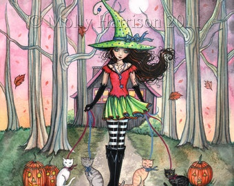 Walking the Cats - Witch  Fine Art Fantasy Print of Watercolor Painting 9 x 12