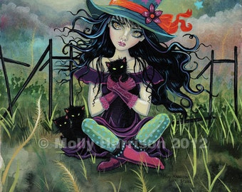 Gothic Witch and Black Cats Halloween Fine Art Giclee Print by Molly Harrison 8 x 10