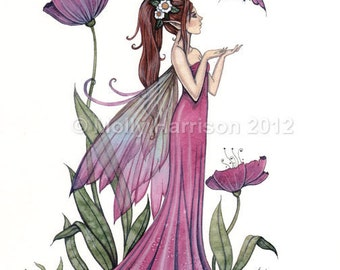 Amethyst Purple Poppy Fairy Fantasy Original Fine Art Giclee Print by Molly Harrison 12 x 16