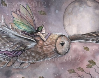 Owl and Fairy Art Print- Archival Fantasy Art Print by Molly Harrison