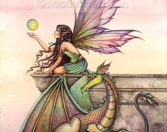 Fairy Art - Fairy Dragon Fine Art Print 12 x 16 'Dragon's Orbs' Watercolor Illustration - Fairies, Faery, Dragons, Molly Harrison Fantasy