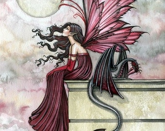 Fairy Dragon Fine Art Giclee Print by Molly Harrison 'Restless Ruby'