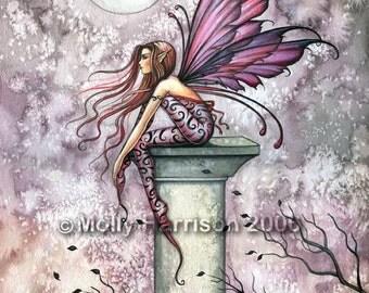 Fairy Fine Art Fantasy Print by Molly Harrison 12 x 16 'The Lookout' Beautiful Watercolor Print - Faery, Fae, Illustration, Artwork