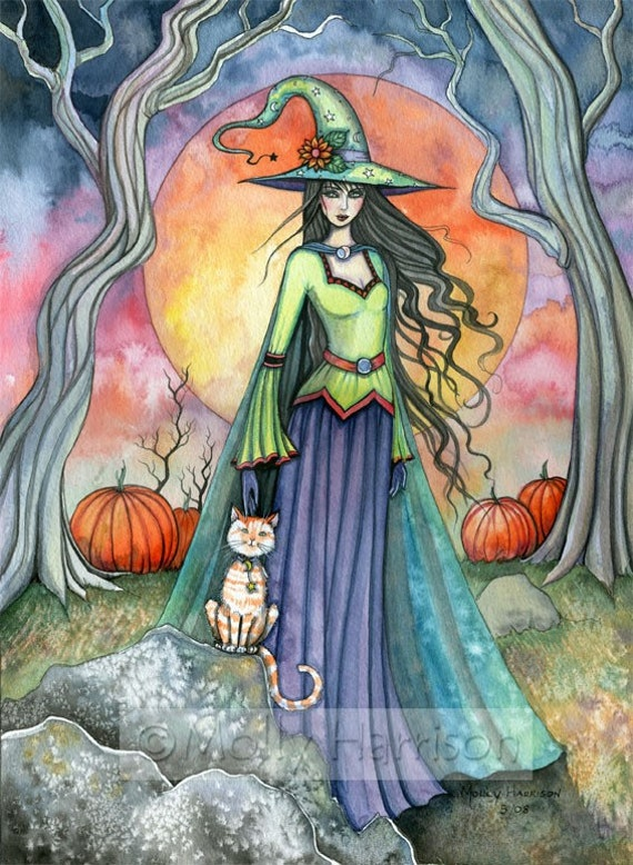 Witch Cat Autumn Fine Art Print by Molly Harrison 'The Smug Witch....' 9 x 12 Giclee