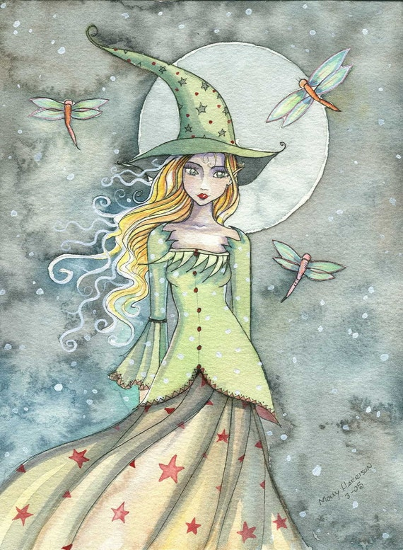 Witch Dragonflies Autumn Fine Art Print by Molly Harrison 'The Night is Young' 9 x 12 Giclee