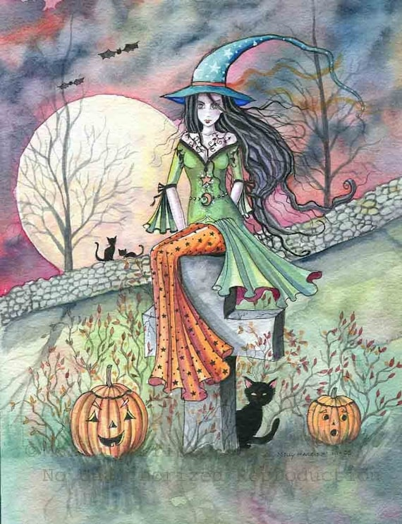 Witch Tabby Cats Autumn Fine Art Print by Molly Harrison 'October Chill' 9 x 12 Giclee