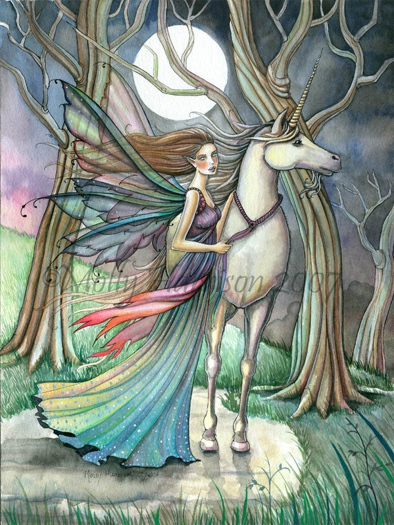 Unicorn and Fairy Fantasy Fine Art Print by Molly Harrison 'Forest of Dreams' 9 x 12 Giclee