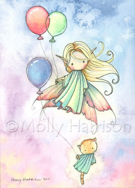 Original Fairy and Cat with Balloons Watercolor Painting 'Floating Cuties' by Molly Harrison Fantasy Art