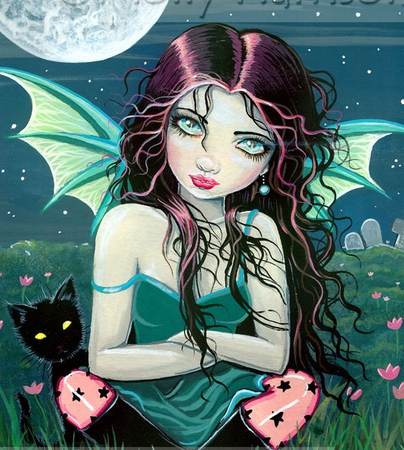 Gothic Vampire Fairy Fantasy Fine Art Print  by Molly Harrison 9 x 12  'Ominously Sweet'