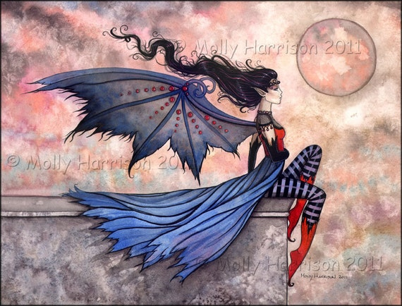 Gothic Vampire Fairy Fine Art Print 'A Wicked Wind' Watercolor Giclee BIG 8 x 10 inches by Molly Harrison