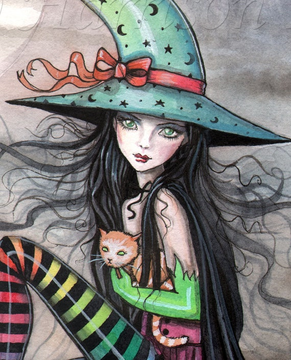 Witch Cat Halloween Fine Art Print By Molly Harrison