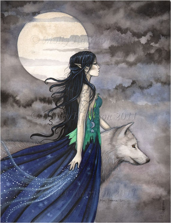 "Witch with Wolf Gothic Fantasy Fine Art Print by Molly Harrison ""Night of the Wolf"" 8 x 10"