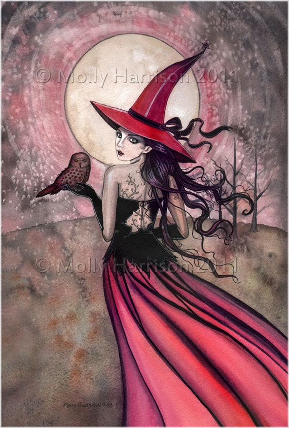 Witch Cat Autumn Fine Art Print by Molly Harrison  'Beware the Red Spotted Owl' Giclee 5 x 7