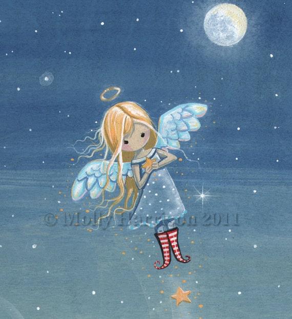 Little Star Angel - Original Acrylic Painting on Wood by Molly Harrison Fantasy Art