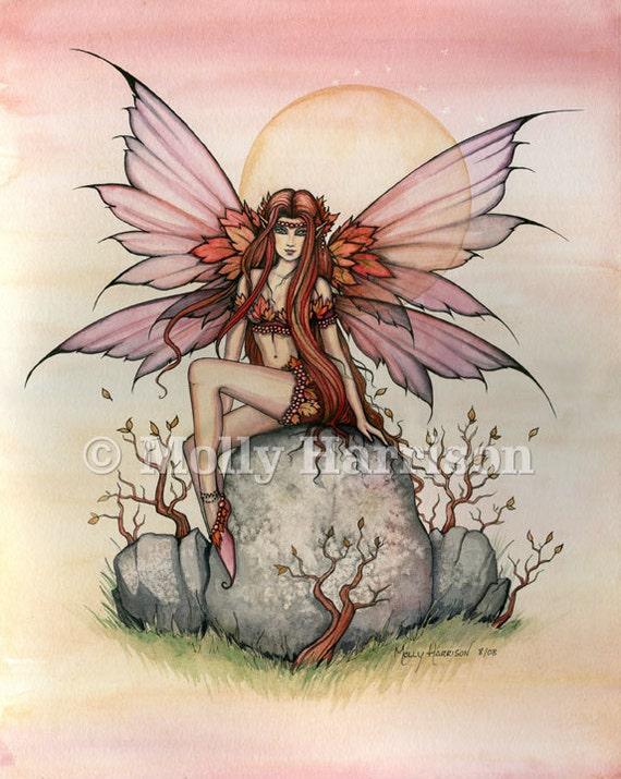 Fairy Print - Autumn Spirit - Molly Harrison Fantasy Art - 9 x 12 - Fairies, Faery, Illustration - Fine Art Watercolor Giclee Print