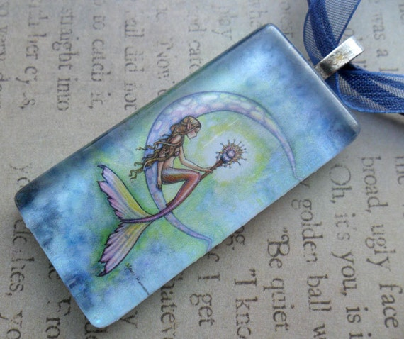 Mermaid Moon Glass Tile Pendant Necklace by Molly Harrison