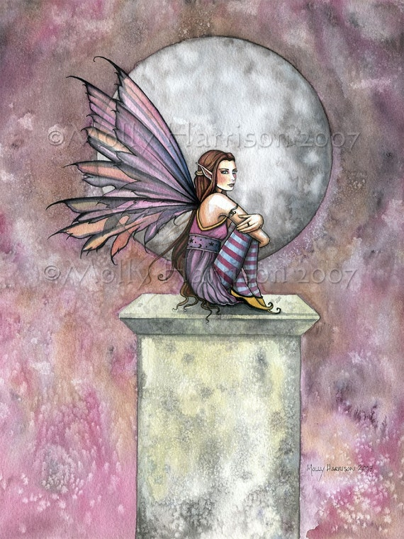 Fairy Faerie Faery Watercolor Giclee Print by Molly Harrison 'Lonely Place' 9 x 12 Beautiful