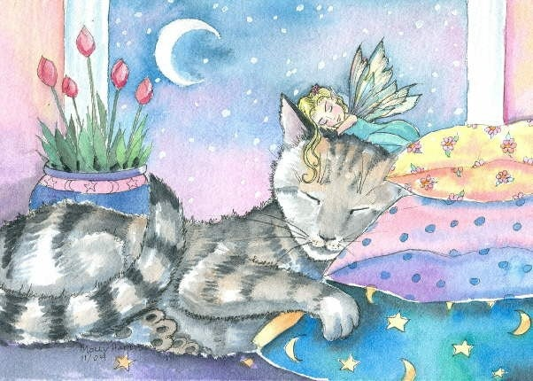 Fairy And Cat Fine Art Print By Molly Harrison 9 X 12