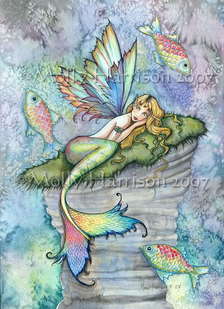 Mermaid Fairy Fine Art Print 12 X 16 'Leaping Carp