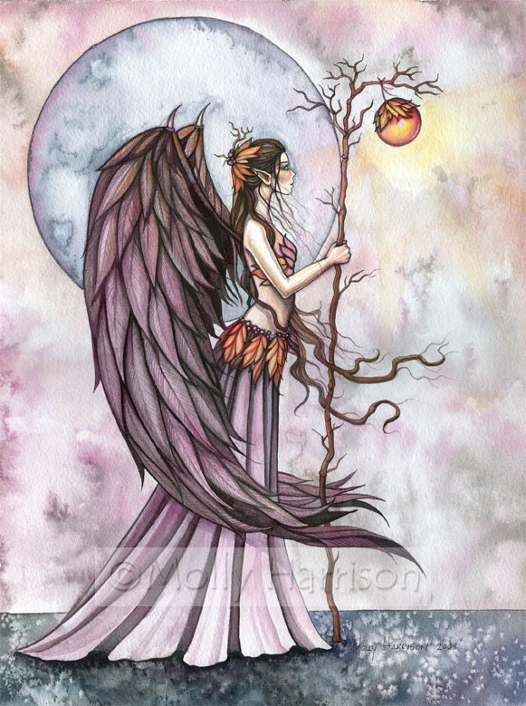 Gothic angel fairy fine art print 39 autumn light 39 for Fairy painting easy