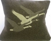 Migration Pillow- Army Green 18 x 18