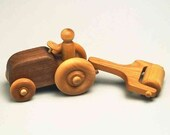 Handcrafted Wooden Toy Tractor with Roller
