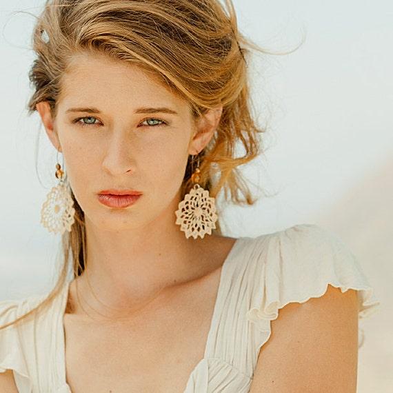 Beach Sand Vintage Lace Earrings