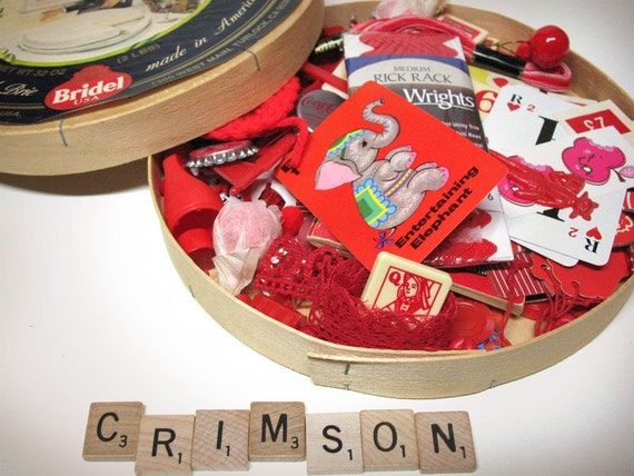 Crimson Ruby Red Box of Fun - Inspiration in a French Brie Wooden Box