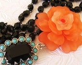 Jet Black Turquoise Coral  Floral Rhinestone Necklace