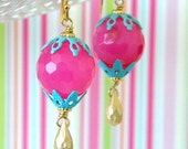 Hot Pink Turquoise Enamel Vintage Filigree Earrings