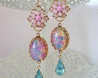 Vintage Swarovski Rose Pink Aqua Earrings