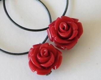 Ruby Red Rose Sterling Silver Hoop Earrings