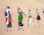 Vintage paper-doll brooches