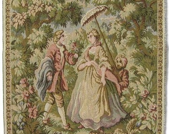 Tapestry Upholstery Fabric, Panel - LADY WITH PARASOL - 14 inches