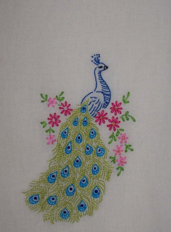 Majestic Peacock HandEmbroidered Organic Cotton Tea