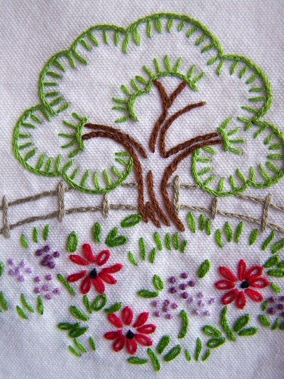Hand Embroidery - Springtime Hand Embroidered Tea Towel
