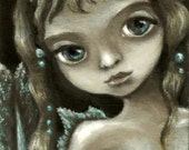 Little mermaid - ACEO PRINT of an original fantasy painting lowbrow fairy art by Tanya Bond